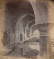 View of aisles from the Ladies' Gallery, looking north, Adina Masjid, Pandua.